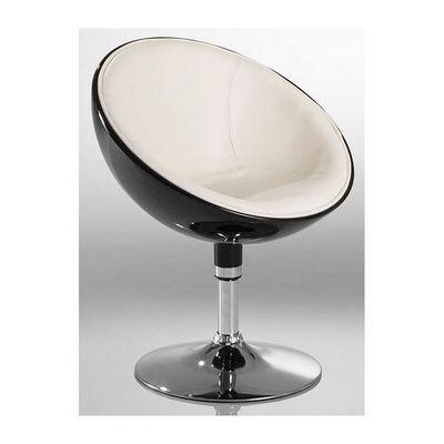 WHITE LABEL - Fauteuil rotatif-WHITE LABEL-Fauteuil lounge pivotant noir/beige