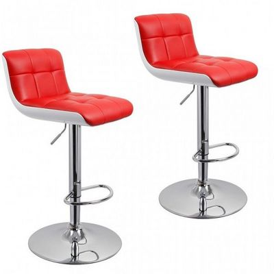 WHITE LABEL - Chaise haute de bar-WHITE LABEL-Lot de 2 tabourets de bar rouge hauteur réglable