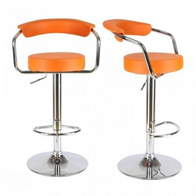 WHITE LABEL - Chaise haute de bar-WHITE LABEL-Lot de 2 tabourets de bar en cuir PU orange