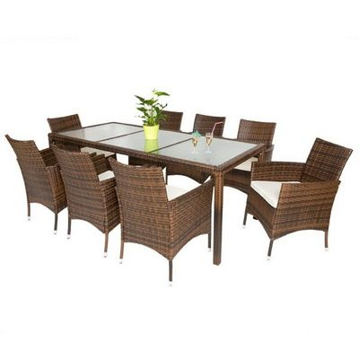 WHITE LABEL - Salle à manger de jardin-WHITE LABEL-Salon de jardin 8 chaises + table marron