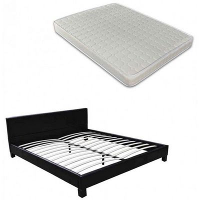 WHITE LABEL - Ensemble literie-WHITE LABEL-Lit cuir 140 x 200 cm noir + matelas