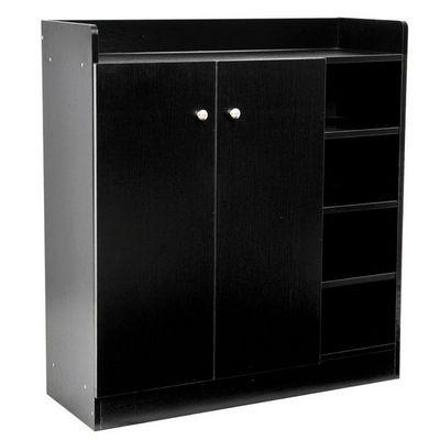 WHITE LABEL - Meuble à chaussures-WHITE LABEL-Meuble armoire à chaussure bois tiroirs noir