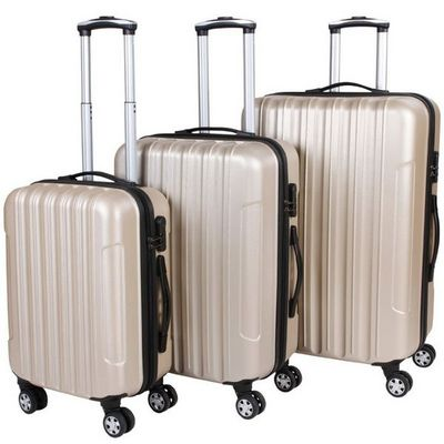 WHITE LABEL - Valise à roulettes-WHITE LABEL-Lot de 3 valises bagage rigide beige