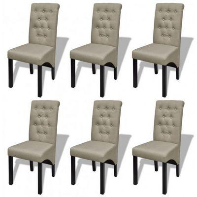 WHITE LABEL - Chaise-WHITE LABEL-6 Chaises de salle a manger beiges