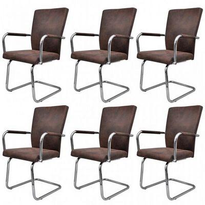 WHITE LABEL - Chaise-WHITE LABEL-6 chaises de salle � manger marron