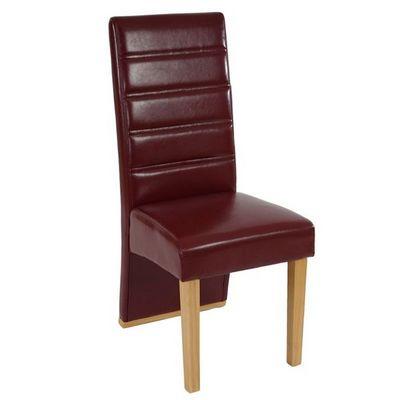 WHITE LABEL - Chaise-WHITE LABEL-Lot de 6 chaises de salle à manger similicuir rouge