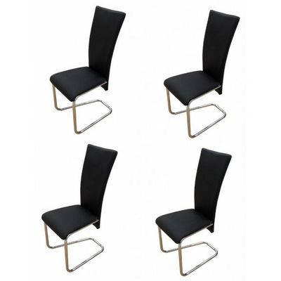 WHITE LABEL - Chaise-WHITE LABEL-4 Chaises de salle a manger noires