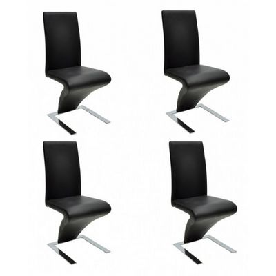 WHITE LABEL - Chaise-WHITE LABEL-4 Chaises de salle a manger noires