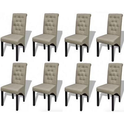 WHITE LABEL - Chaise-WHITE LABEL-8 Chaises de salle a manger beiges