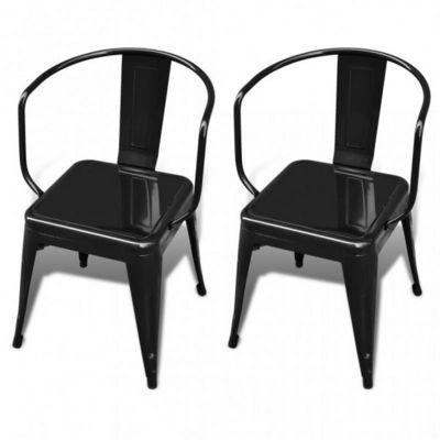 WHITE LABEL - Chaise-WHITE LABEL-2 Chaises De Salle � Manger Acier Factory