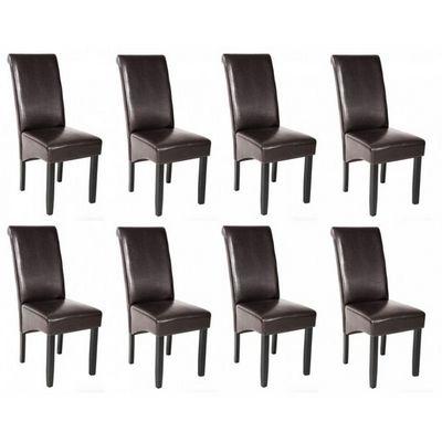 WHITE LABEL - Chaise-WHITE LABEL-8 chaises de salle à manger marron