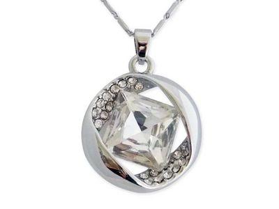 WHITE LABEL - Collier-WHITE LABEL-Collier pendentif anneau en strass orné d'un faux