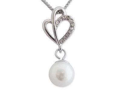 WHITE LABEL - Collier-WHITE LABEL-Collier avec double coeur strass et sphère nacrée