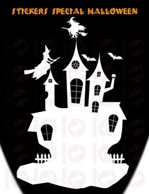WHITE LABEL - Sticker-WHITE LABEL-Sticker château hanté sorcières