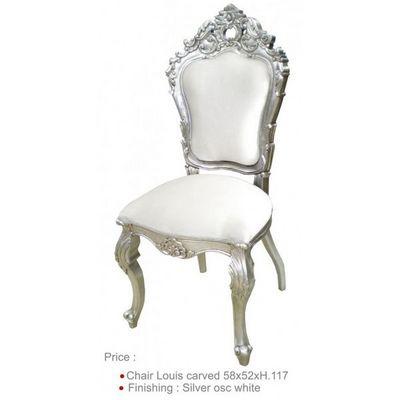 DECO PRIVE - Chaise r�ception-DECO PRIVE-Chaise de style bois argent� et aspect cuir blanc