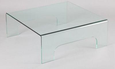 WHITE LABEL - Table basse carrée-WHITE LABEL-Table basse carré en verre QUADRUPÈDE