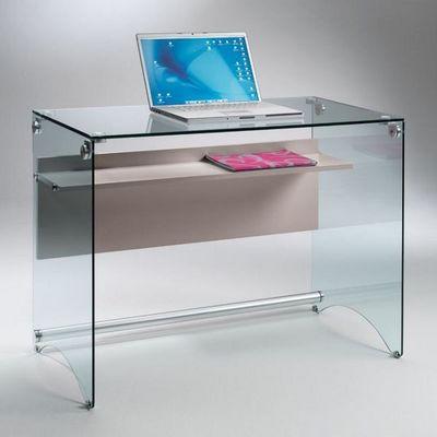 WHITE LABEL - Bureau-WHITE LABEL-Bureau CHARLI design en verre avec une étagère en