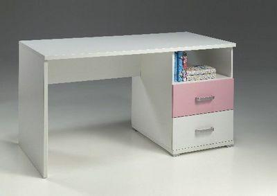 WHITE LABEL - Bureau-WHITE LABEL-Bureau VALENTINE 2 tiroirs blanc et rose
