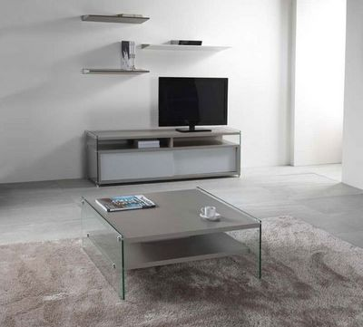 WHITE LABEL - Table basse carr�e-WHITE LABEL-Table basse BELLA 2 plateaux gris avec pi�tement e