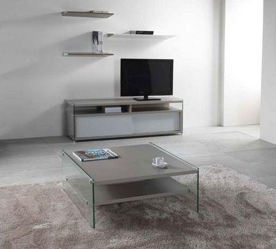 WHITE LABEL - Table basse carrée-WHITE LABEL-Table basse BELLA 2 plateaux gris avec piétement e