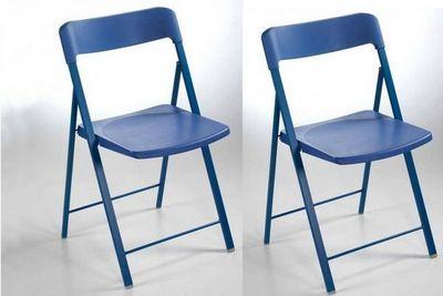 WHITE LABEL - Chaise pliante-WHITE LABEL-Lot de 2 chaises pliantes KULLY en plastique bleu