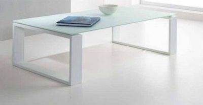 WHITE LABEL - Table basse rectangulaire-WHITE LABEL-Table basse TACOS design en verre blanc
