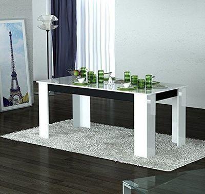 WHITE LABEL - Table de repas rectangulaire-WHITE LABEL-Table repas MITO blanche et noire