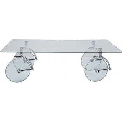 Kare Design - Table basse rectangulaire-Kare Design-Table basse en verre Wheels 140x80 cm