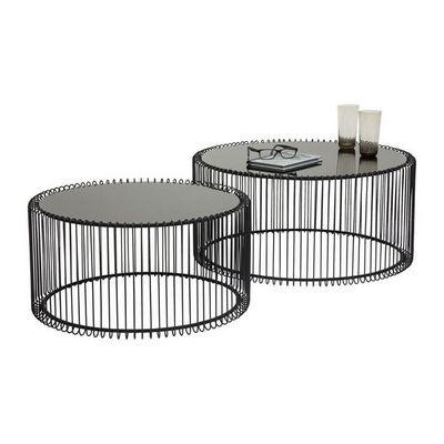 Kare Design - Table basse ronde-Kare Design-Table basse ronde Wire noir 2/set