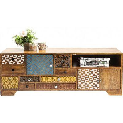 Kare Design - Meuble tv hi fi-Kare Design-Meuble TV en bois Soleil 3 portes 9 tiroirs