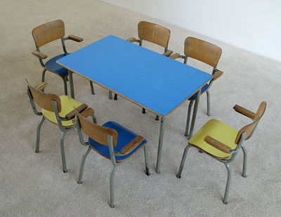 FURNITURE-LOVE.COM - Bureau enfant-FURNITURE-LOVE.COM-School table and 6 chairs for children Tubax