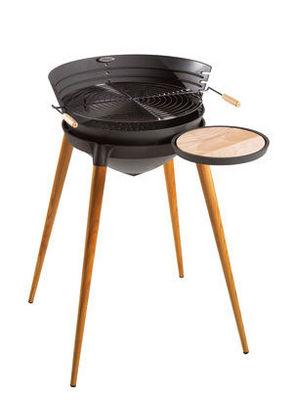 INVICTA - Barbecue au charbon-INVICTA-Barbecue Shogun en Fonte et Pieds en Bois 86x71x92