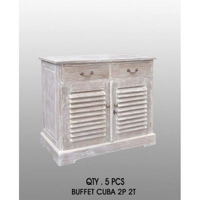 DECO PRIVE - Buffet bas-DECO PRIVE-Buffet ceruse modele Kissi cuba - 2 tiroirs 2 port