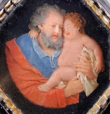 Fabian de MONTJOYE - Tableau décoratif-Fabian de MONTJOYE-Joseph et Jesus cire colorée XVIIème