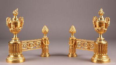 Galerie Atena - Chenets-Galerie Atena-Feux en bronze doré