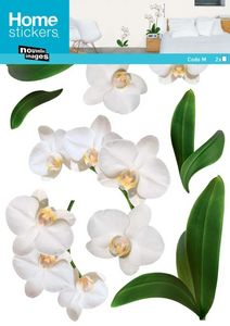 Nouvelles Images - sticker mural plante orchidée blanche - Children's Decorative Sticker
