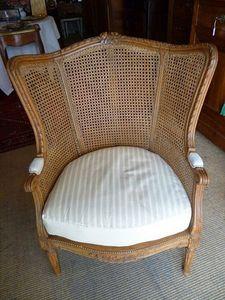 La Brocante de Steeve - large bergère à oreilles et à fond de canne style louis xvi - Wingchair With Head Rest