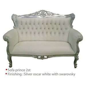 DECO PRIVE - banquette baroque blanche etbois argente et simili - 2 Seater Sofa
