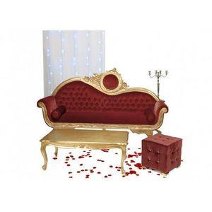 DECO PRIVE - canape baroque ensemble victoria 3 places dore et - 2 Seater Sofa