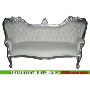 DECO PRIVE - meridienne baroque imitation cuir blanc et bois ar - 2 Seater Sofa