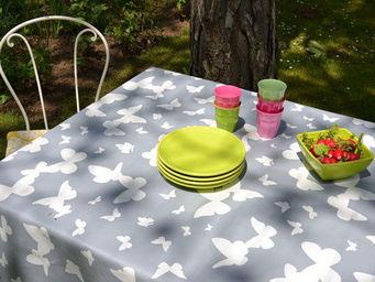 FLEUR DE SOLEIL - nappe enduite papillons gris 160x160 - Coated Tablecloth
