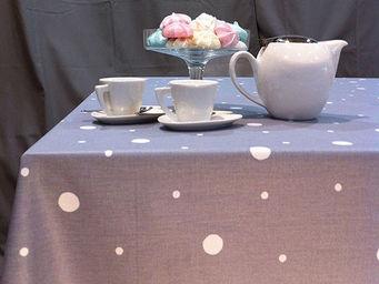 FLEUR DE SOLEIL - nappe enduite pois gris clair 160x160 - Coated Tablecloth
