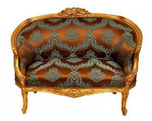 Demeure et Jardin - banquette loveuse damassée turquoise et chocolat - 2 Seater Sofa