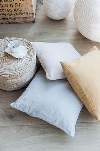 Couleur Chanvre - couleur curry, gris perle, blanc de chaux - Cushion Cover