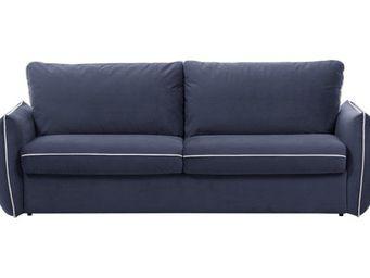 WHITE LABEL - canapé fixe linus 2 places en microfibre bleu deni - 2 Seater Sofa