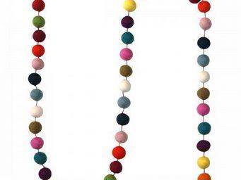 Lamali - guirlande boules feutres couleurs arlequin - Festoon
