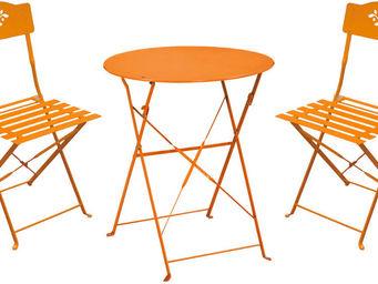 Imagin - ensemble de jardin diana 1 table + 2 chaises orang - Outdoor Dining Room