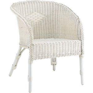 Aubry-Gaspard - fauteuil moelle de rotin blanc - Armchair