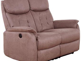 WHITE LABEL - canapé relax électrique 2 places marron - alicia - - 2 Seater Sofa