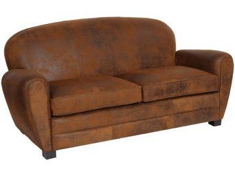 WHITE LABEL - canapé 2p style club microfibre marron - enfield - - 2 Seater Sofa